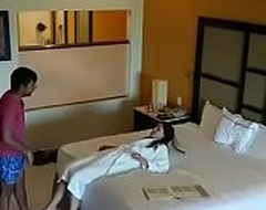Suffocating camera affronting sex with girlfriend with hotel room