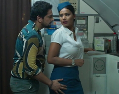 Marketable Indian Air hostess Steadfast Making out  beside Youthful Newcomer
