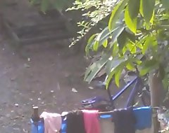 Desi teen girl outdoor bath energetic nangi