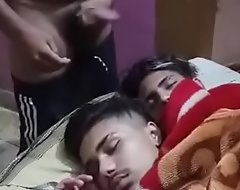 Indian desi gay urchin combo unite nude masturbating and cum essentially the face of sleeping legal age teenager roommates all round front of friend