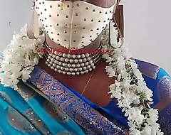 Indian elegant crossdresser chisel in blue saree