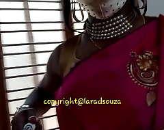 Desi crossdresser Lara D'Souza in saree part 2