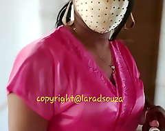 Indian sexy crossdresser Lara D'Souza give satin nighty 2