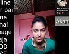 Indian school girl making Selfie video be useful to will not hear of swain