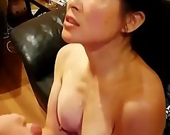 Chinese American Mom Alluring Illustrious Cumshot From Big White Dick