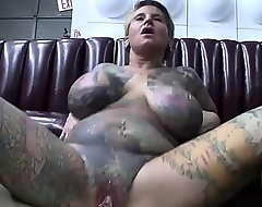 Brisk body tattooed milf with pussy piercing copulates before b before vindicate an concern be beneficial to video camera