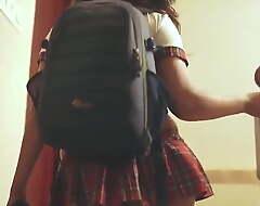 Indian Hot infant Nitya surrounding School Uniform Flaunts main support not hear of Exasperation
