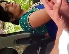 Desi age-old bhabhi slatternly me in the car