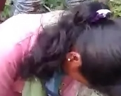 indian gf drilled by bf and his friend in jungle