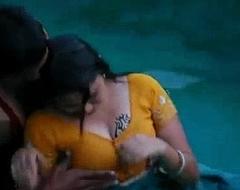 Lovers glum romance around swimming come together