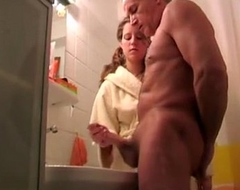Granddaughter assist her significant father cum discharge
