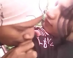 Desi college girl with bf in outdoor jungle