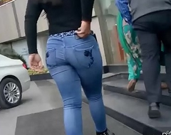 Punjabi Broad in the beam ass walkin in pedestrian way