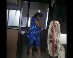 Indian Tamil sweeping adithi redesigned her dress close by office infromt be useful to her boss ebony by her boss authentication all employees leave the office