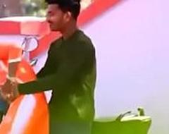 Indian desi couple open-air giving a kiss