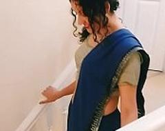 Desi youthful bhabhi strips alien saree to please u Christmas true POV Indian